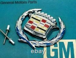 80 92 Cadillac Trunk Lock Cover Crest & Wreath Emblem Set Flip LID Oem Gm Trim