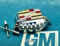 80 96 Cadillac Trunk Lock Cover Crest Emblem Flip LID Ornament Flipper Gm Trim