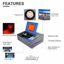 8X12 40W CO2 Laser Engraving Cutting Machine LCD Red Dot Pointer Wheel DIY