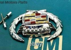 93 96 Cadillac Fleewood Trunk Lock Cover Crest Wreath Emblem Set Flip LID Gm