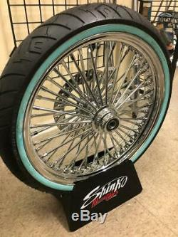 ALL Chrome 16/21 Fat Spoke Wheel Package for 00-06 SOFTAIL WHITE WALLS & ROTORS