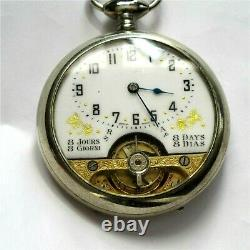 Antique Hebdomas 16 size Swiss made Exposed Balance wheel pocket watch working