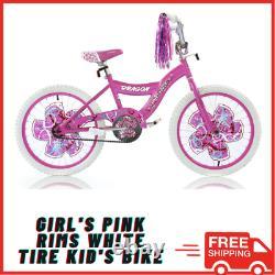 BMX BIKE Kids Girls Bicycle 20 Wheels Pink White Steel S-Type Frame Chrome Rims