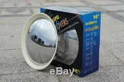 Baby Moon Chrome With White Wall wheel cover hubcap2084CW 14 trim rim SET OF 4