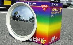 Baby Moon Chrome with White Wall Hubcap wheel cover 2082CW trim Rim Chrome White