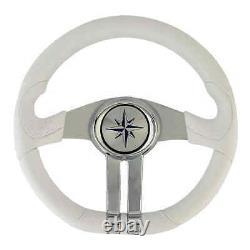 Baltic white steering wheel silver/chrome spokes 1 PC Osculati 45.158.31 45