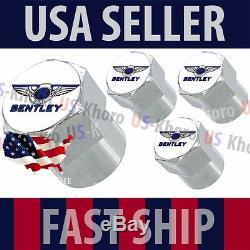 Bentley Blue Logo Valves Stems Caps Covers Chrome Wheel Roundel Tire Emblem USA