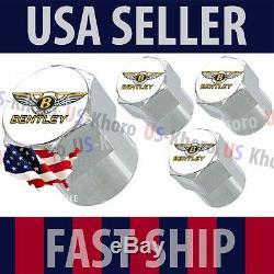 Bentley Gold Logo Valves Stems Caps Covers Chrome Wheel Roundel Tire Emblem USA