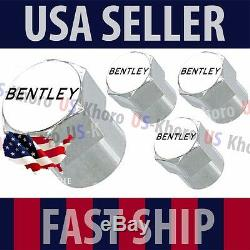 Bentley Text Logo Valves Stems Caps Covers Chrome Wheel Roundel Tire B Emblem US