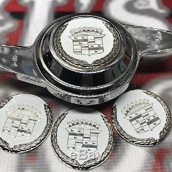 Cadillac Zenith Dayton Wire Wheel 2.25 Metal Chip Emblems Chrome White Chips