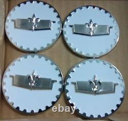 Caprice Wire Wheel Chips Emblems 4 White & Chrome Metal Size 2.25 Zenith Style