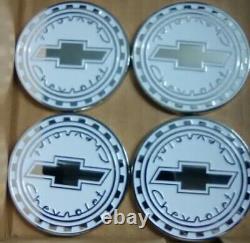 Chevrolet Reverse Gear Wire Wheel Emblems 4 White & Chrome Size 2.25 Zenith Look