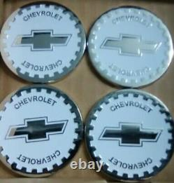 Chevrolet Wire Wheel Emblems 4 White & Chrome Size 2.25 Zenith Style