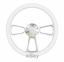 Chevy Impala, Nova 14 Billet & White Steering Wheel, Chevy Horn & Adapter Kit