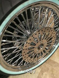 Chrome 21x3.5 Fat Spoke Front Wheel Package 00 07 Harley Touring White Wall