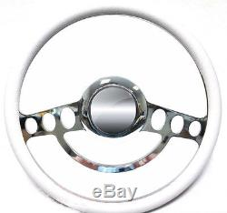 Chrome & White Steering Wheel Full Kit 1969 and up Chevy Chevrolet El Camino