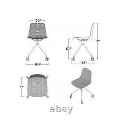 CozyBlock Chair Set Office Task Molded Plastic Seat Chrome Wheel Legs White 2 Pc