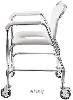 DMI Rolling Shower and Commode Transport Chair with Wheels and Padded Seat for