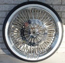 DNA Chrome Mammoth 21 18 52 Fat Spoke Wheel White Wall Tire Package Harley FLS
