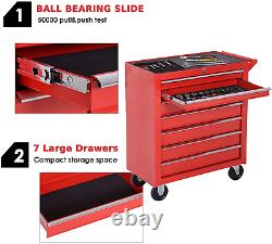 DURHAND Roller Tool Cabinet Storage Chest Box 7 Drawers Roll Wheels Garage Red