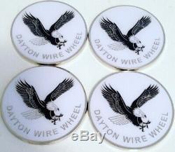 Dayton Wire Wheels Set Of 4 White & Chrome Metal Eagle Emblems Size 2.38