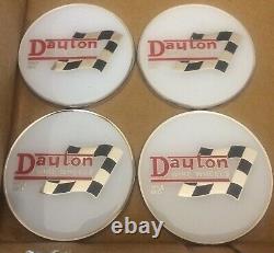 Dayton Wire Wheels Set Of 4 White & Chrome Metal Flag Emblems Size 2.38