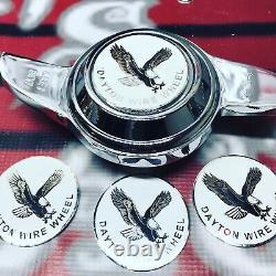 Dayton Wire Wheels Set Of 4 White Metal Eagle Emblems Size 2.25 Chrome
