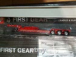 Dcp first gear red lowboy beam hauler trailer set with30beam chrome wheels 1/64