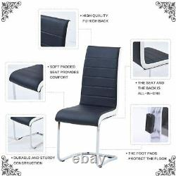 Dining Chairs Set of 6 Black White Sides Faux Leather Modern Black Kitchen Chair