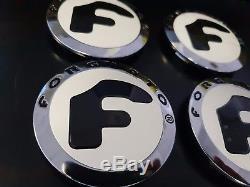 FORGIATO floating/floater rims/wheels caps chrome white logo black F rare combo