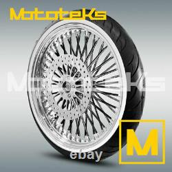 Fat Black Spoke Wheel 23x3.5 For Harley Softail Rotor White Wall Tire Mounted