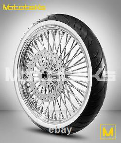 Fat Spoke Wheel 23x3.5 For Harley Softail Model Rotor White Wall Tire Mounted