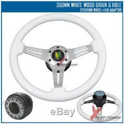 Fits Acura 350MM White Chrome Spoke Racing Steering Wheel+Hub Adaptor BD Badge