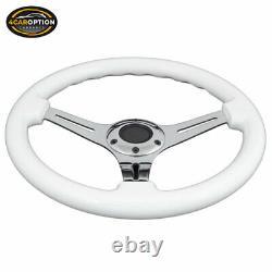 Fits White 350Mm Steering Wheel Classic Wood Grain Sport Chrome Polish Spoke