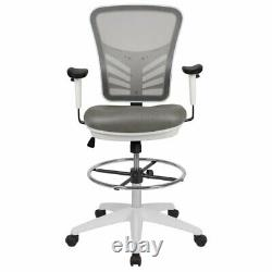 Flash Furniture Contemporary Mid Back Mesh Drafting Stool in Gray and White