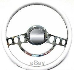 Ford Hot Rod or Truck Chrome & White Steering Wheel fits Flaming River Column