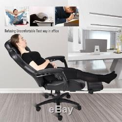 Gaming Chair Racing Video Massage Support Ergonomic Computer Seat Footrest US