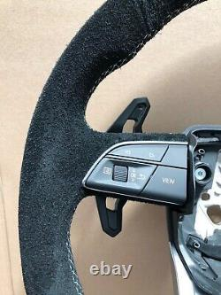 Genuine Lamborghini Urus New Full Suede Chrome Bang White Stitch Steering Wheel