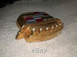 Gold 80 96 Cadillac Trunk Lock Cover Crest Emblem Flip LID Ornament