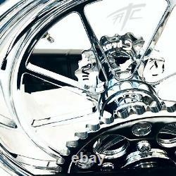 Gsxr 240 Fat Tire Kit Chrome Omni Wheels White 3d Logo 08-20 Suzuki Gsxr 600 750