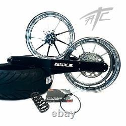 Gsxr 240 Fat Tire Kit Chrome Omni Wheels White 3d Logo 2009-2020 Suzuki Gsxr1000