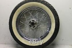 Harley Davidson Softail Chrome Front Wheel 16x3.0 With Tire White Wall Dunlop