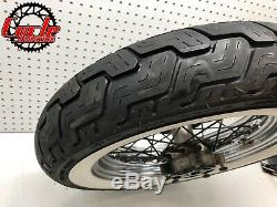 Harley OEM Touring Road King White Wall 16x3 Softail Chrome Spoke Rear Wheel Rim