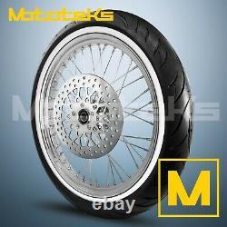 Harley Spoke Wheel 21x3.5 40 Stainless For Harley Softail Model Rotor White Tire