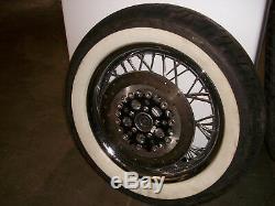 Harley Touring Smooth 16 inch Rim Spoke Wheel Set Dunlop White Wall Tires Rims