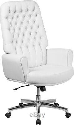 High Back Traditional Tufted White LeatherSoft Executive Swivel Office Chair
