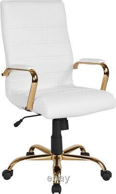 High Back White LeatherSoft Executive Swivel Office Chair