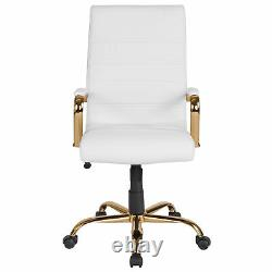 High Back White LeatherSoft Executive Swivel Office Chair with Gold Frame and
