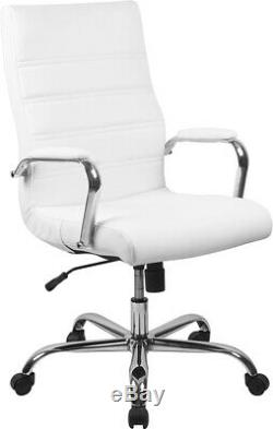 High Back White LeatherSoft Executive Swivel Office Chair withChrome Base &Arms