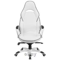 High Back White Vinyl/Black Trim Executive Swivel Office Chair with Arms